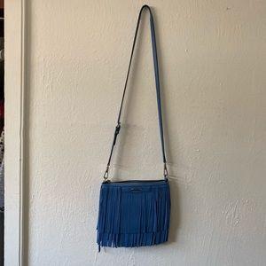 REBECCA MINKOFF Leather Fringe Crossbody Bag Blue